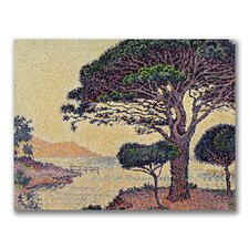 """Umbrella Pines at Caroubier"" by Paul Signac Painting Print on Canvas"