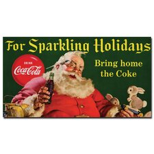 "<strong>Trademark Fine Art</strong> Coca-Cola ""Santa with Rabbit for Sparkling Holidays"" Canvas Art"