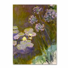 "<strong>Trademark Fine Art</strong> ""Waterlilies and Agapanthus"" Canvas Art"