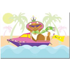 'Pretty Kitty Princess in a Boat' Canvas Art