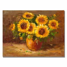 'Sunflowers Still Life' Painting Print on Canvas