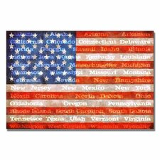 <strong>Trademark Fine Art</strong> 'American Flag with States' Canvas Art