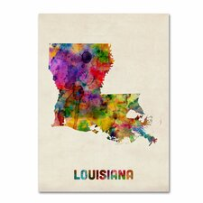 <strong>Trademark Fine Art</strong> 'Louisiana Map' Canvas Art