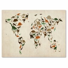 <strong>Trademark Fine Art</strong> 'Dinosaur World Map 2' Canvas Art