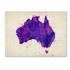 'Australia Paint Splashes Map' by Michael Tompsett Graphic Art on Canvas