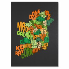 <strong>Trademark Fine Art</strong> 'Ireland Text Map 6' Canvas Art