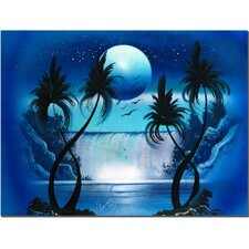 <strong>Trademark Fine Art</strong> 'Moon Over the Waterfall I' Canvas Art