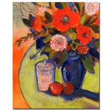 <strong>Trademark Fine Art</strong> 'Red Flowers with Jar' Canvas Art