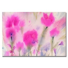 'Fushia Flowers' by Sheila Golden Painting Print on Canvas