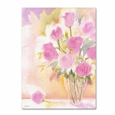 <strong>Trademark Fine Art</strong> 'Vase with Pink Roses' Canvas Art