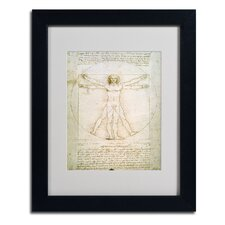 """The Proportions of the Human Figure"" by Leonardo da Vinci Framed Graphic Art"