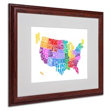 """USA States Text Map 3"" Matted Framed Art"