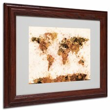 "<strong>Trademark Fine Art</strong> ""Bronze Paint Splash World Map"" Matted Framed Art"