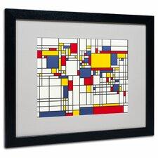 """Mondrian World Map"" by Michael Tompsett Matted Framed Graphic Art"
