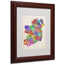 """Ireland Text Map 3"" Matted Framed Art"