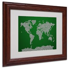 "<strong>Trademark Fine Art</strong> ""Soccer Balls World Map"" Matted Framed Art"
