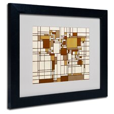 "<strong>Trademark Fine Art</strong> ""Mondrian World Map"" Matted Framed Art"