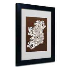 """Ireland Text Map"" Matted Framed Art"