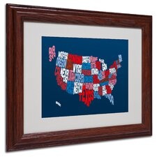 "<strong>Trademark Fine Art</strong> ""USA States Text Map 2"" Matted Framed Art"