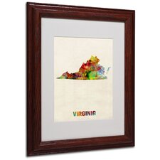 "<strong>Trademark Fine Art</strong> ""Virginia Map"" Matted Framed Art"