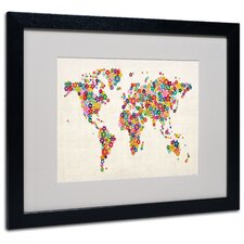 "<strong>Trademark Fine Art</strong> ""Flowers World Map"" Matted Framed Art"