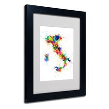"<strong>Trademark Fine Art</strong> ""Italy Paint Splashes Map"" Matted Framed Art"