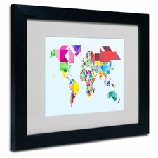 """Tangram Worldmap"" Matted Framed Art"