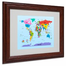 "<strong>Trademark Fine Art</strong> ""Children's World Map"" Matted Framed Art"