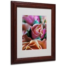 """Mauve and Peach Roses"" Matted Framed Art"
