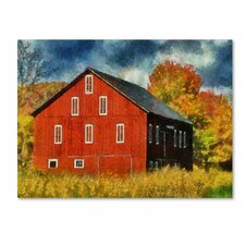 """Red Barn In Autumn"" by Lois Bryan Photographic Print on Canvas"