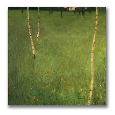 """Farmhouse with Birch Trees"" Canvas Art"