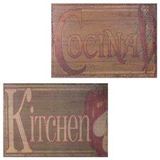 Kitchen Cocina 2 Piece Metal Plaque Set