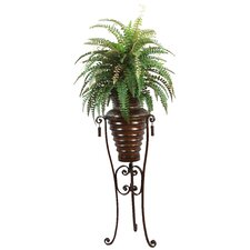 Silk Boston Fern Floor Plant in Metal Planter