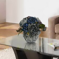 Hydrangea and Peony Arrangement in Ceramic Container