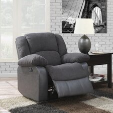 Spender Grey Microfiber and Faux Leather Recliner
