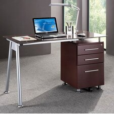 Computer Desk with Side Cabinet in Chocolate