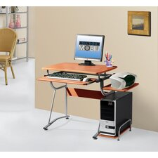 Compact Computer Desk with Keyboard Tray and Side Accessory Shelf