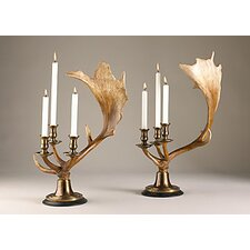 2 Piece Moose Antler Candlestick Holder Set