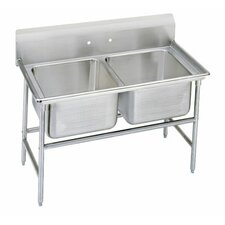 "<strong>Advance Tabco</strong> 900 Series Seamless Bowl 52"" x 35"" 2 Compartment Scullery Sink"