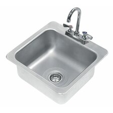 "304 Series Seamless Bowl 19"" x 19"" 1 Compartment Drop-in Sink with Faucet"
