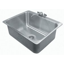 """304 Series Seamless Bowl 31"""" x 25"""" 1 Compartment Drop-in Sink with Faucet"""