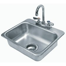 """304 Series Seamless Bowl 17"""" x 15"""" 1 Compartment Drop-in Sink with Faucet"""
