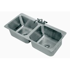 304 Series Seamless Bowl 2 Compartment Drop-in Sink with Faucet