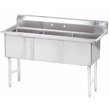 """Economy Fabricated Bowl 59"""" x 24"""" 3 Compartment Scullery Sink"""
