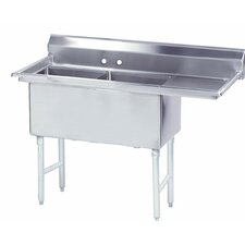 "Fabricated Bowl 56.5"" x 29"" 2 Compartment Scullery Sink"