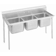 "T-9 Series 62"" x 27"" 3 Compartment Scullery Sink"