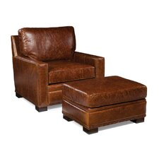 Bronson Leather Arm Chair and Ottoman