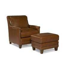 Prescott Leather Arm Chair and Ottoman