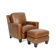 Alvardo Leather Arm Chair and Ottoman