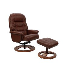 Venus Leather Swivel Recliner and Footstool